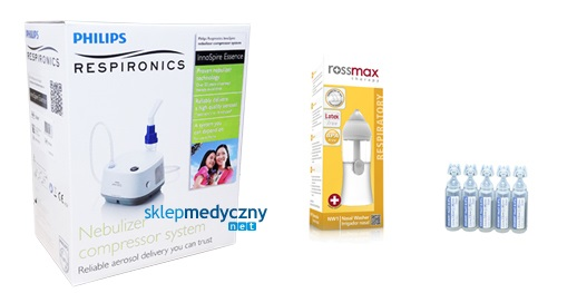 Inhalator Philips Essence z nebulizatorem do zatok Rossmax NW1